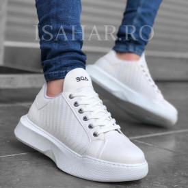 Pantofi sport premium, albi, model casual, ISAHAR