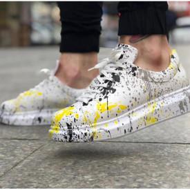 Pantofi sport unisex, albi cu imprimeu, casual, talpa cusuta din spuma