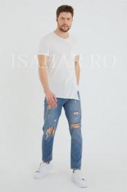 Tricou barbati BREEZY, alb, casual, din materiale premium, ISAHAR