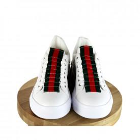 Pantofi sport barbati, albi, cu talpa cusuta, usori si comozi