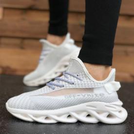 Pantofi sport barbati, albi, foarte comozi si usori, cu siret, ideali pentru alergat