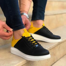 Pantofi sport barbati casual negri, cu siret, confectionati din piele ecologica