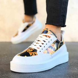 Pantofi sport barbati, model VRS nou, casual albi, talpa inalta din spuma, ISAHAR