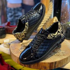 Pantofi sport barbati, negri, cu aplicatii aurii, usori si comozi, ISAHAR
