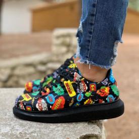 Pantofi sport barbati negri, cu imprimeu colorat, talpa cusuta