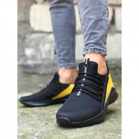 Pantofi sport negri, cu aplicatii galbene si talpa din spuma