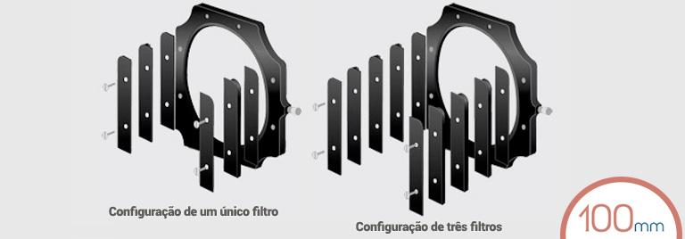Configuração no suporte de um e três Filtros LEE 100mm