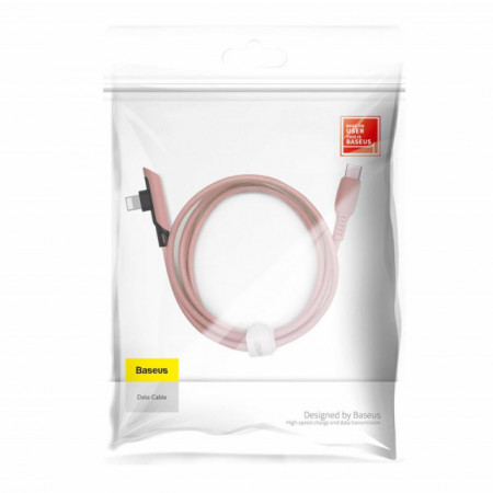 Baseus Cabo Tipo-C p/ Angular Lightning Colorful Elbow 8W 1,2mt Pink (CATLDC-A04)