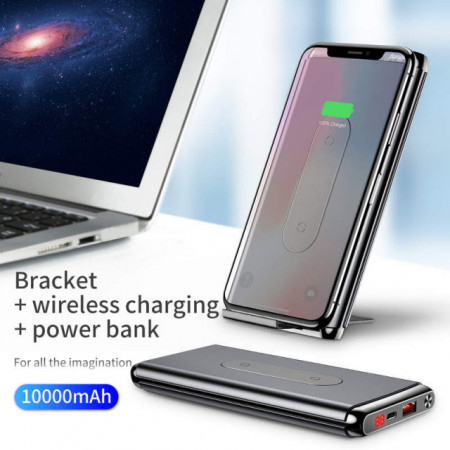 Baseus Power Bank Wireless Dual Coil Charger 15W 10.000mAh Black (WXHSD-D01)