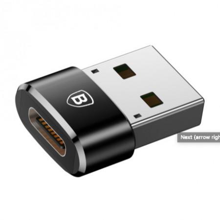Baseus Adaptador Tipo-C Fêmea p/ USB Macho Black (CAAOTG-01)
