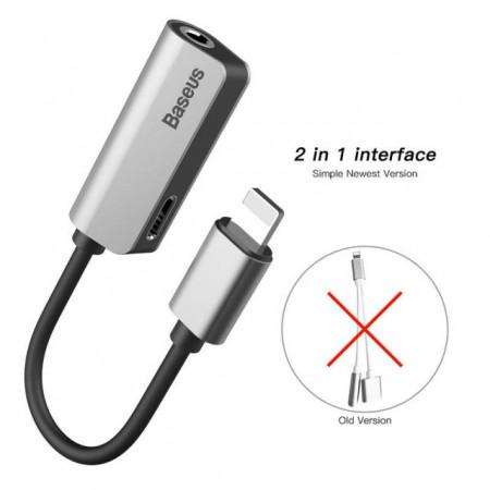 Baseus Adaptador Lighting Macho p/ 3.5mm c/ Lighting Fêmea Black/Silver (CALL32-0S)