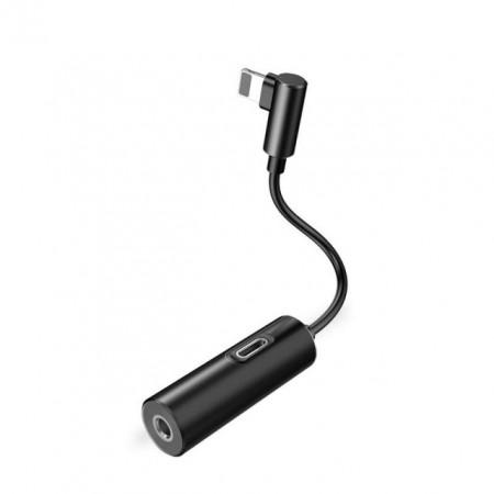 Baseus Adaptador Lightning Macho p/ Lightning Female + 3.5mm Black (CALL42-01)