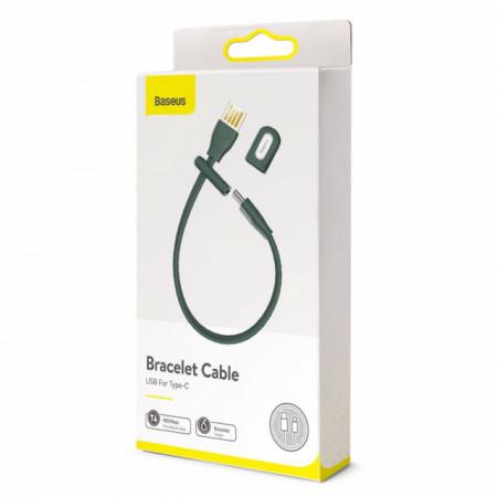 Baseus Cabo Pulseira USB para USB-C 22cm 3A Blackish Green (CATFH-06B)