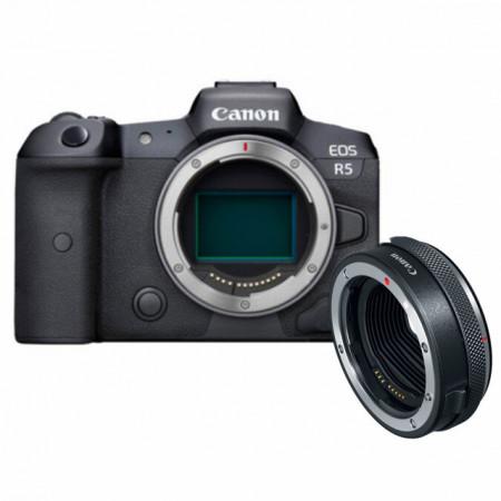 Canon EOS R5 Corpo + Adaptador Canon EF a Corpo EOS R c/ Anel de Controlo