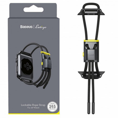 Baseus Strap p/ iWatch 3, 4, 5 series 38mm, 40mm Lets Go Lockable Rope Gray/Yellow (LBAPWA4-AGY)