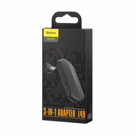 Baseus Adaptador 3em1 Tipo-C Macho p/ 2x Tipo-C Fêmea + 3,5mm Fêmea Black (CATL49-01)