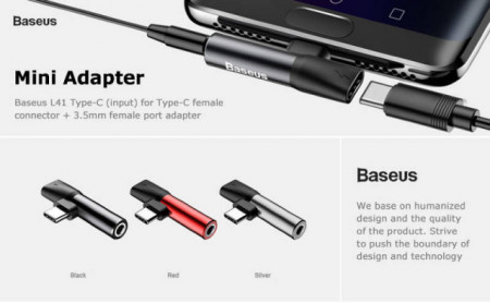 Baseus Adaptador Tipo-C Macho p/ Tipo-C Fêmea + 3.5mm Fêmea Red/Black (CATL41-91)
