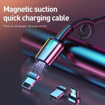 Baseus Cabo Magnético 3em1 p/ Lightning + Tipo-C + Micro 2mt Black (TZCAXC-B01)