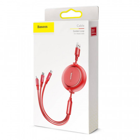 Baseus Cabo Golden Loop 3em1 p/ Lightning + Type-C + Micro 3,5A 1,2m Red (CAMLT-JH09)