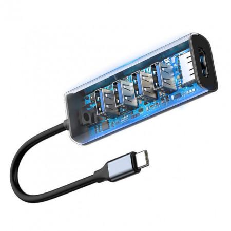 Baseus HUB Tipo-C a 4x USB3.0 + HDMI Enjoy Dark Gray (CAHUB-N0G)