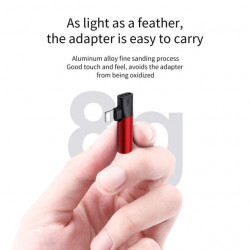 Baseus Adaptador Lightning Macho p/ Lightning Female + 3.5mm Red/Black (CALL43-91)