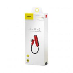 Baseus Adaptador Lightning Macho p/ Lightning Female + 3.5mm Red/Black (CALL42-91)