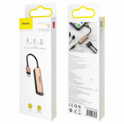 Baseus Adaptador 3em1 Lighting Macho p/ 2x Lighting Fêmea + 3,5mm Fêmea Blush Gold (CALL52-17)