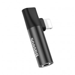 Baseus Adaptador Lightning Macho p/ Lightning Female + 3.5mm Black (CALL43-01)