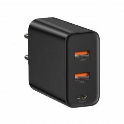 Baseus Carregador Rápido 60W c/ 2 Portas USB + 1 Porta USB-C (CCFS-G01