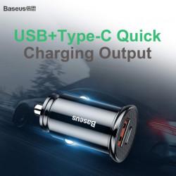 Baseus Carregador Duplo de Isqueiro USB + USB-C 30W Black (CCALL-YS01)