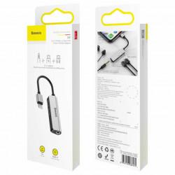 Baseus Adaptador 3em1 Lighting Macho p/ 2x Lighting Fêmea + 3,5mm Fêmea Silver/Black (CALL52-S1)