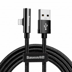 Baseus Cabo Adaptador Lightning Macho p/ Lightning Fêmea + 3.5mm Fêmea 2A 1.2mt Rhythm Bent Black (CALLD-B01)
