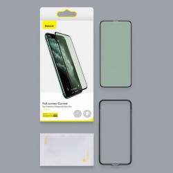 Baseus T-Glass Curvo p/ iPhone 11 Pro Max Eye Protect 0.3mm Black 2Pcs SGAPIPH65S-IA01