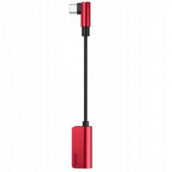 Baseus Adaptador Tipo-C Macho p/ Tipo-C Female + 3.5mm Red/Black (CATL45-91)