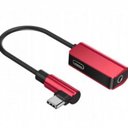 Baseus Adaptador Tipo-C Macho p/ Tipo-C Female + 3.5mm Red/Black (CATL45-91)
