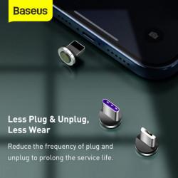 Baseus Cabo USB Magnético Universal + Conjunto de Plugues Lightning / Type-C / Micro 5A 1mt Black / Gray (CA1T3-BG1)