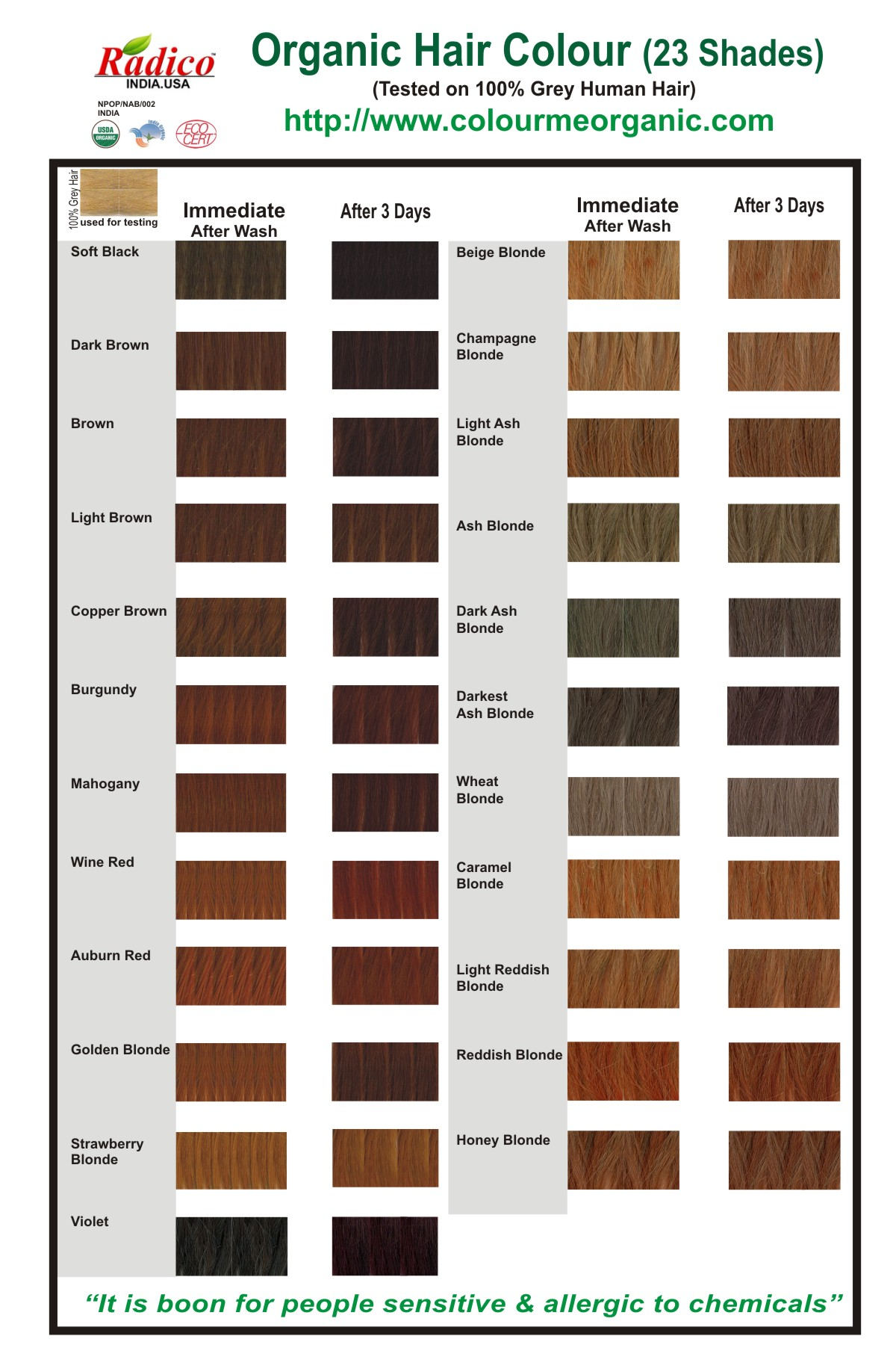 Organic Hair Color Chart