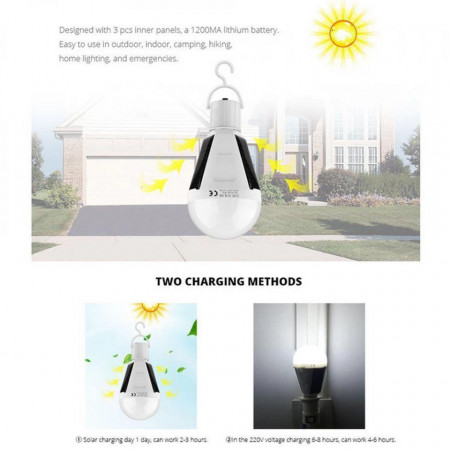 Bec waterproof 2in1 cu incarcare solara, panouri solare incorporate