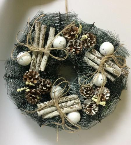 Decoratiune Coronita pin gri 30 cm