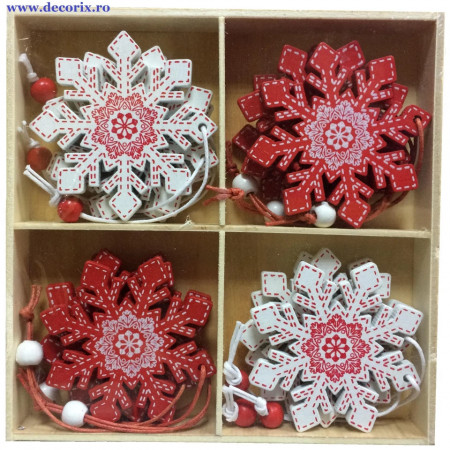Set ornamente lemn fulgi de zapada