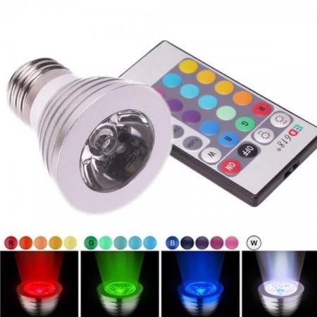 Bec Led RGB, 3W/220V, Dulie E27 - Cu Telecomanda