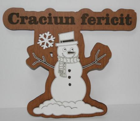 Decoratiune Om de zapada din lemn Craciun fericit