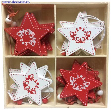 Set ornamente lemn stelute
