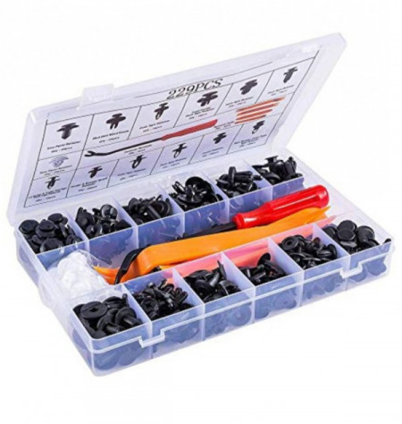 kit Cleme de fixare din plastic în cutie 229 bucăți