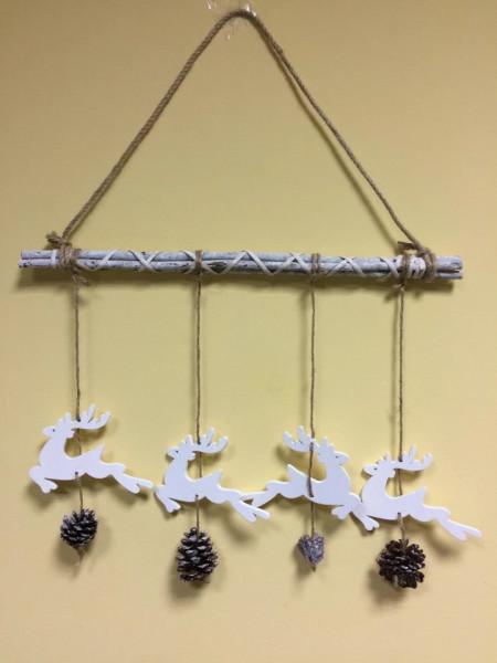 Decoratiune 4 Reni din lemn cu pin