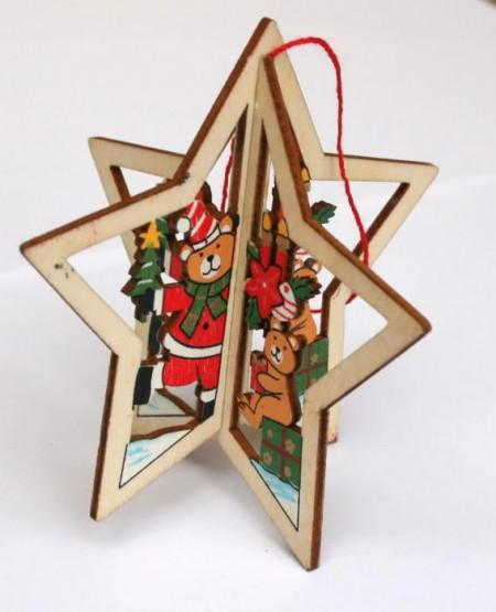 Ornament lemn Stea 3D