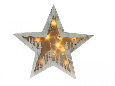 Decoratiune Stea luminoasa din lemn