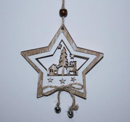 Decoratiune steluta din lemn cu clopotei