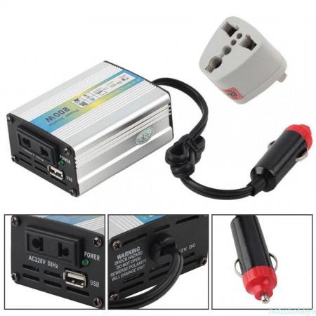 Invertor auto 200W DC 12V la AC 220V USB