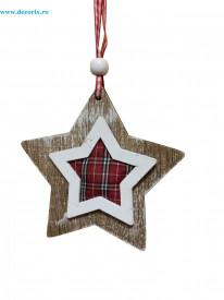 Ornament stea din lemn cu material